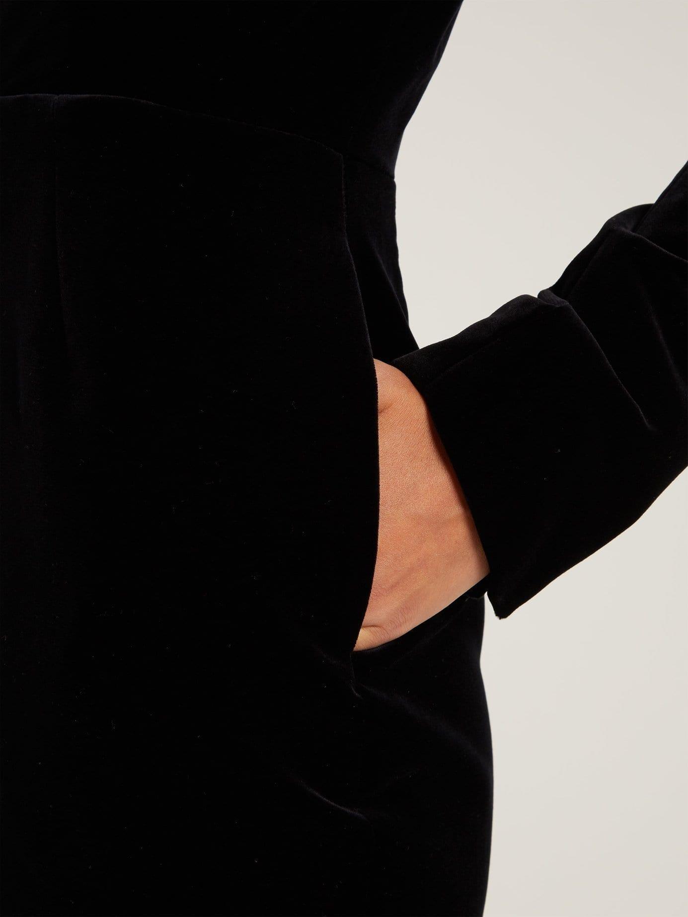 ALEXANDRE VAUTHIER V-neck Velvet Mini Black Dress