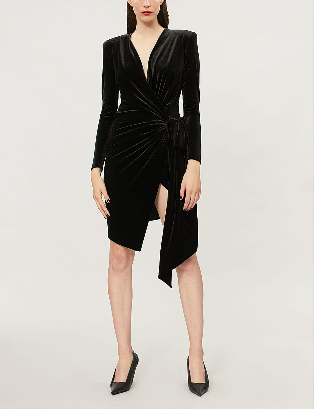 ALEXANDRE VAUTHIER Wrap Over Velvet Black Dress