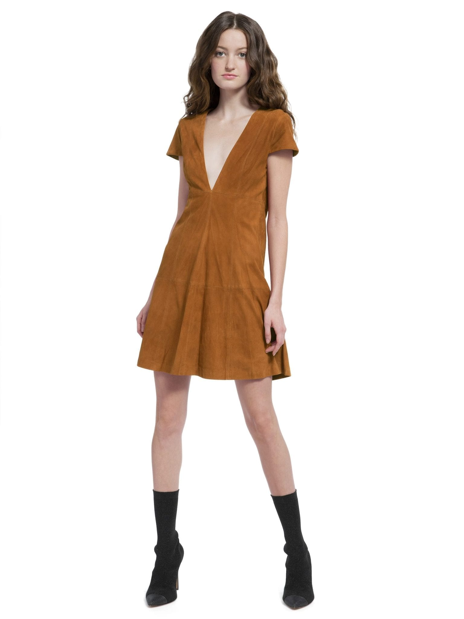 ALICE AND OLIVIA Amara Suede Deep V Baby Doll Biscuit Dress