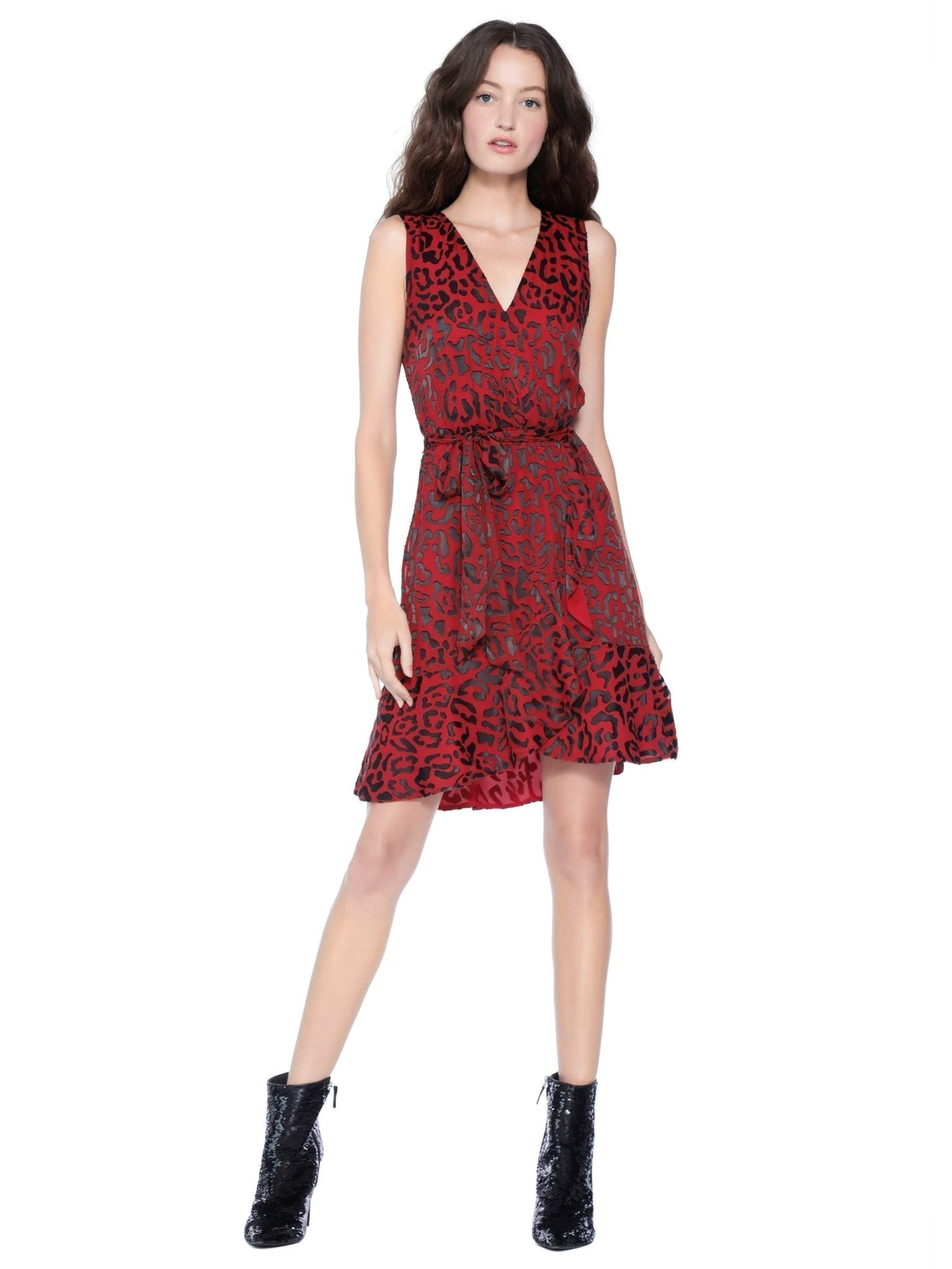 ALICE AND OLIVIA Brooks Fit Flare Shirt Red Dress