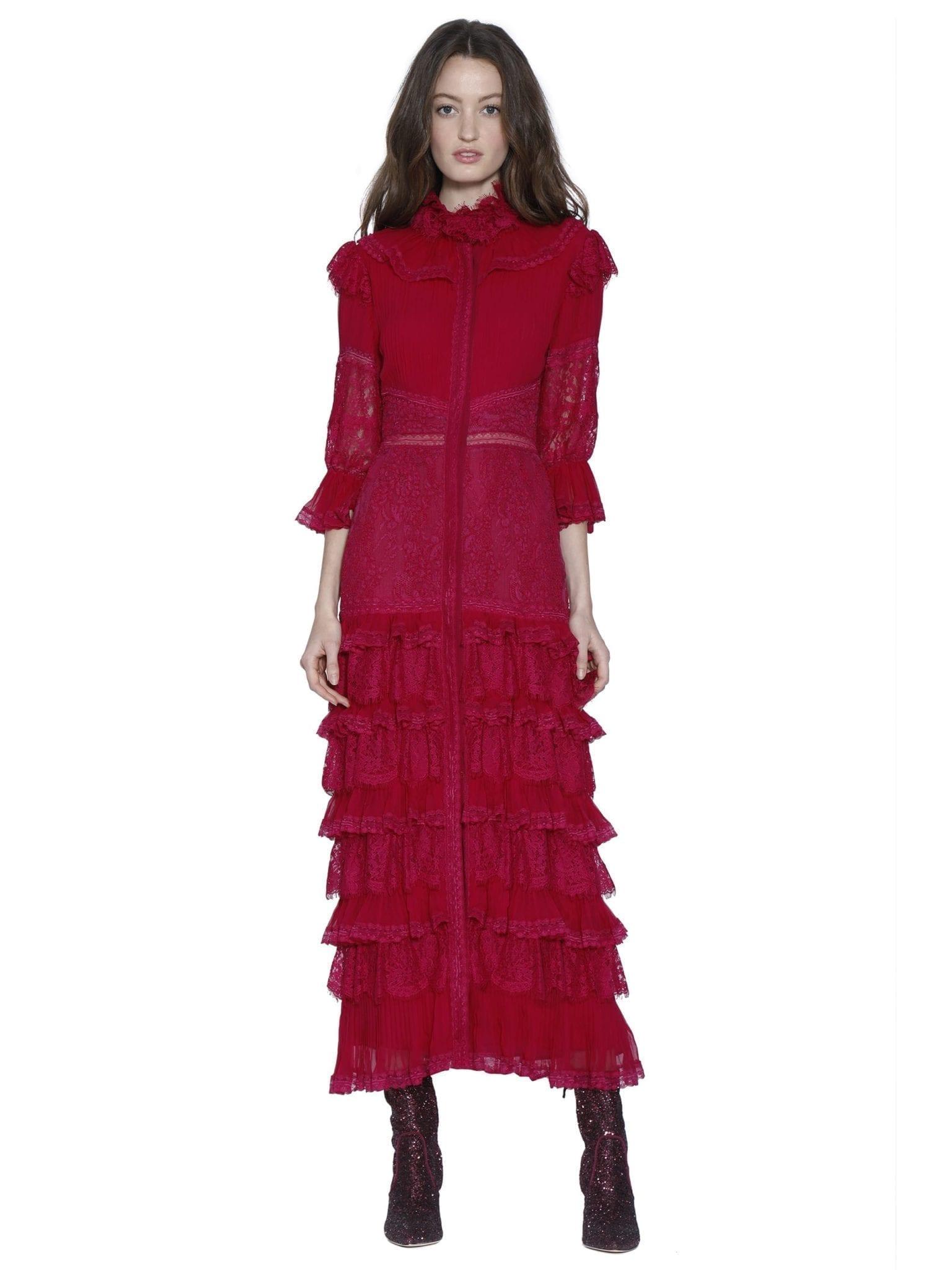 ALICE AND OLIVIA Carmina Pleated Midi Raspberry Dress