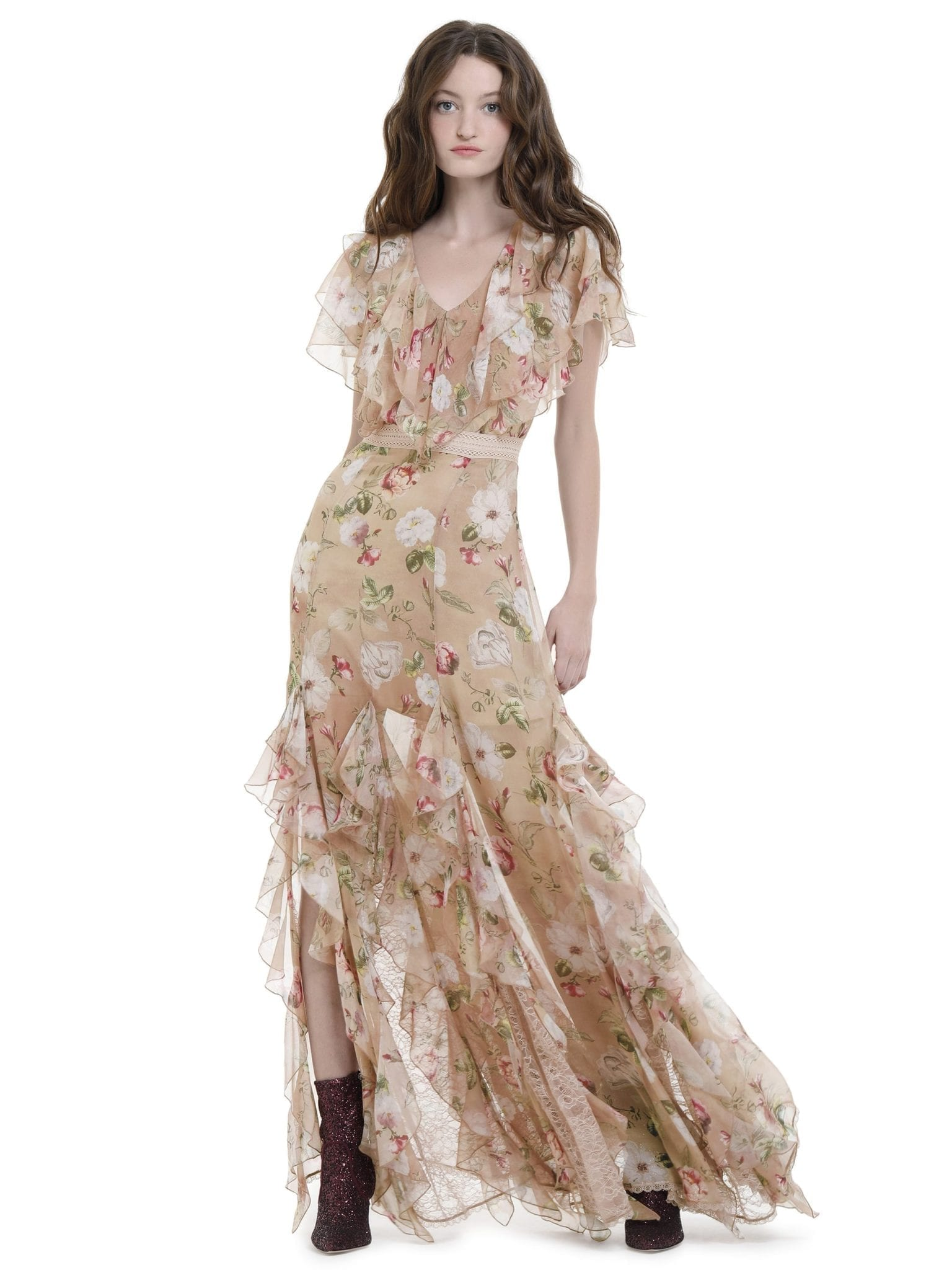 ALICE AND OLIVIA Cassidy Tiered Ruffle Maxi Hazy Floral Sand Dress