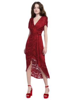 ALICE AND OLIVIA Darva Gathered Mock Wrap Midi Baroque Floral Ruby Dress