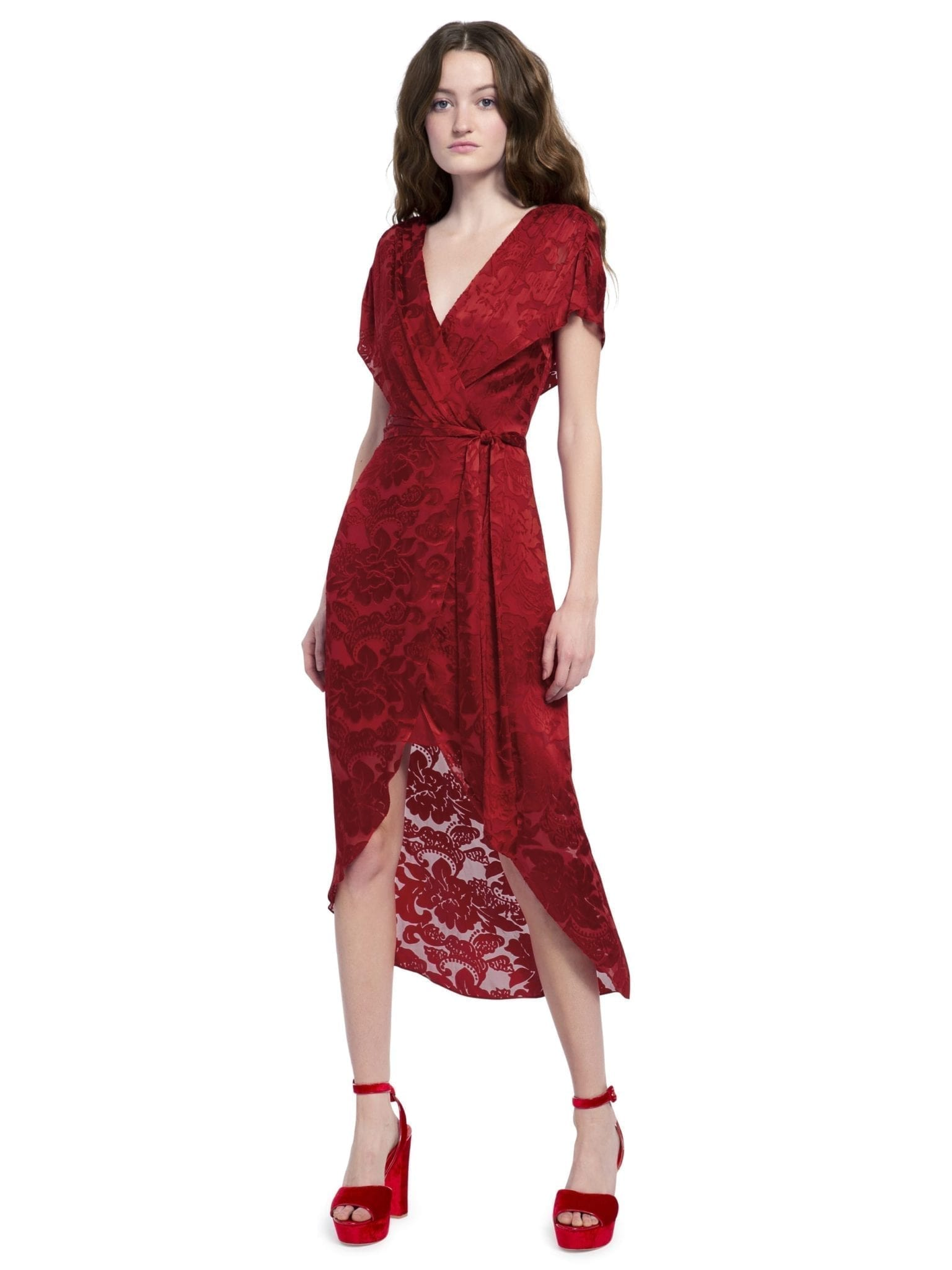 ALICE AND OLIVIA Darva Gathered Mock Wrap Midi Baroque Floral Ruby Dress