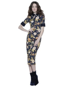 ALICE AND OLIVIA Delora Fitted Collared Navy / Floral Printed Dress