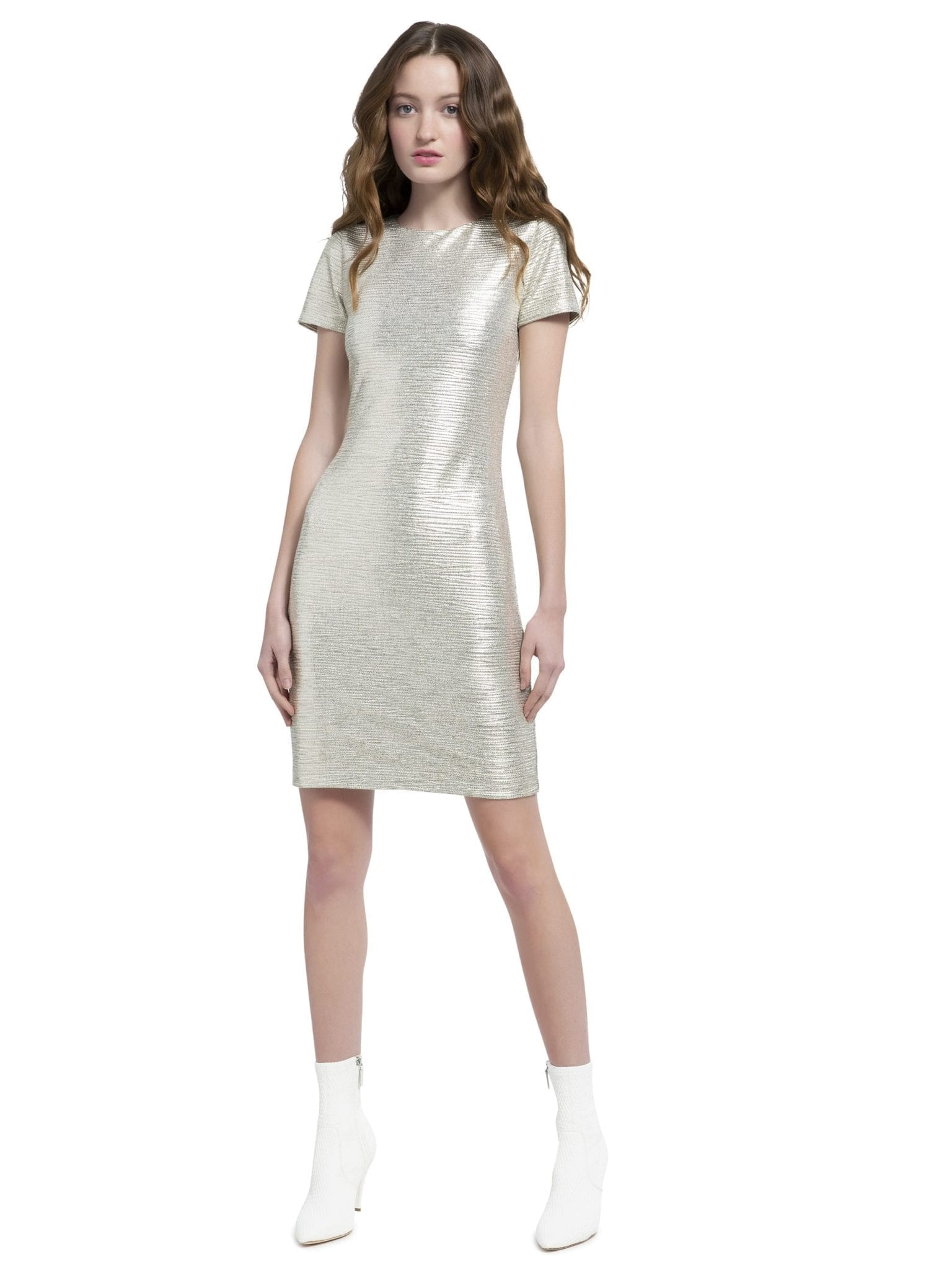 ALICE AND OLIVIA Delora Short Sleeve Fitted Silver Dress