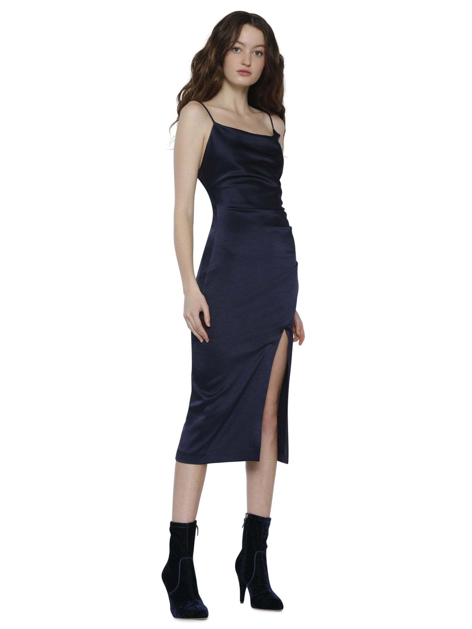 ALICE AND OLIVIA Dion Ruched Midi Slip Navy Dress