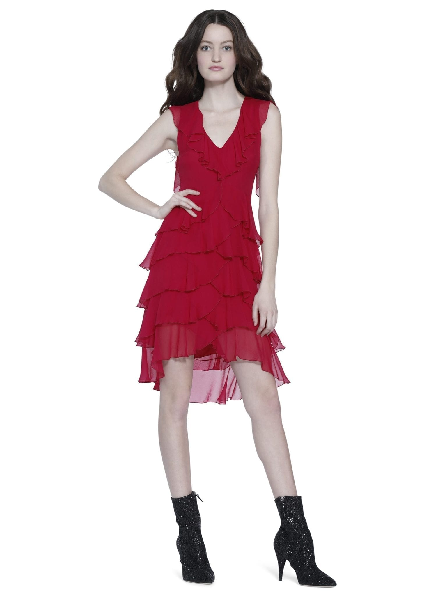 ALICE AND OLIVIA Felicita Ruffle Tiered Raspberry Dress