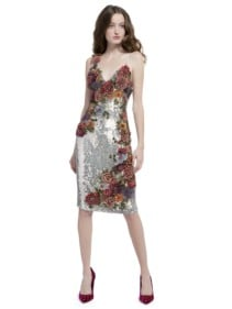 ALICE AND OLIVIA Francie Embellished Sequin Fitted Silver Multicolored Dress