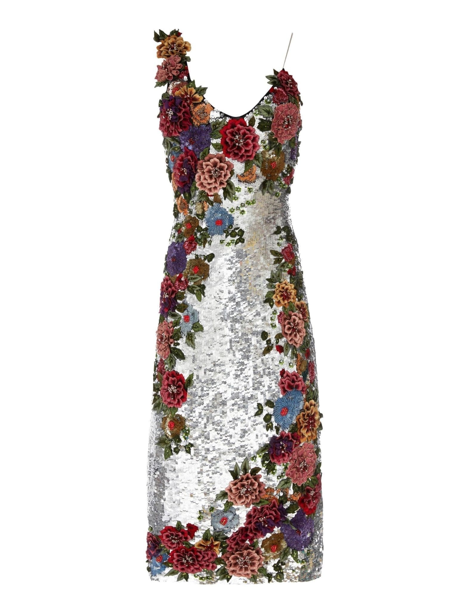 f1b217e7 ALICE AND OLIVIA Francie Embellished Sequin Fitted Silver Multicolored Dress