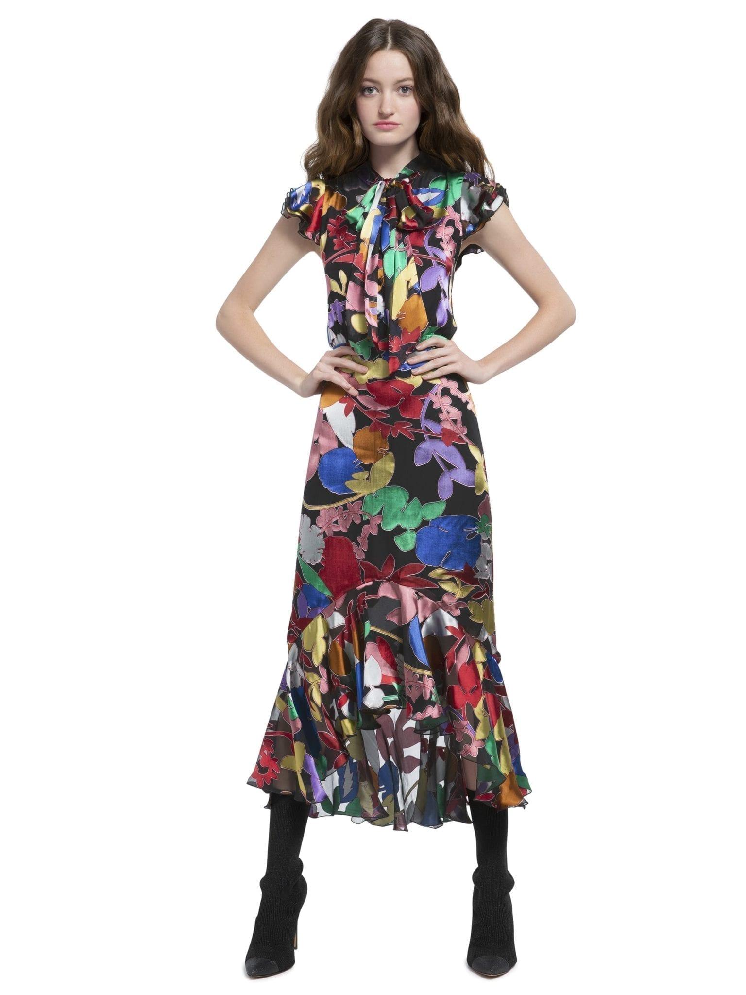 ALICE AND OLIVIA Greta Ruffle Hem Midi Rainbow Lead Black Dress