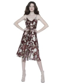ALICE AND OLIVIA Heather Cowl Neck Midlength Wine Red / Floral Printed Dress