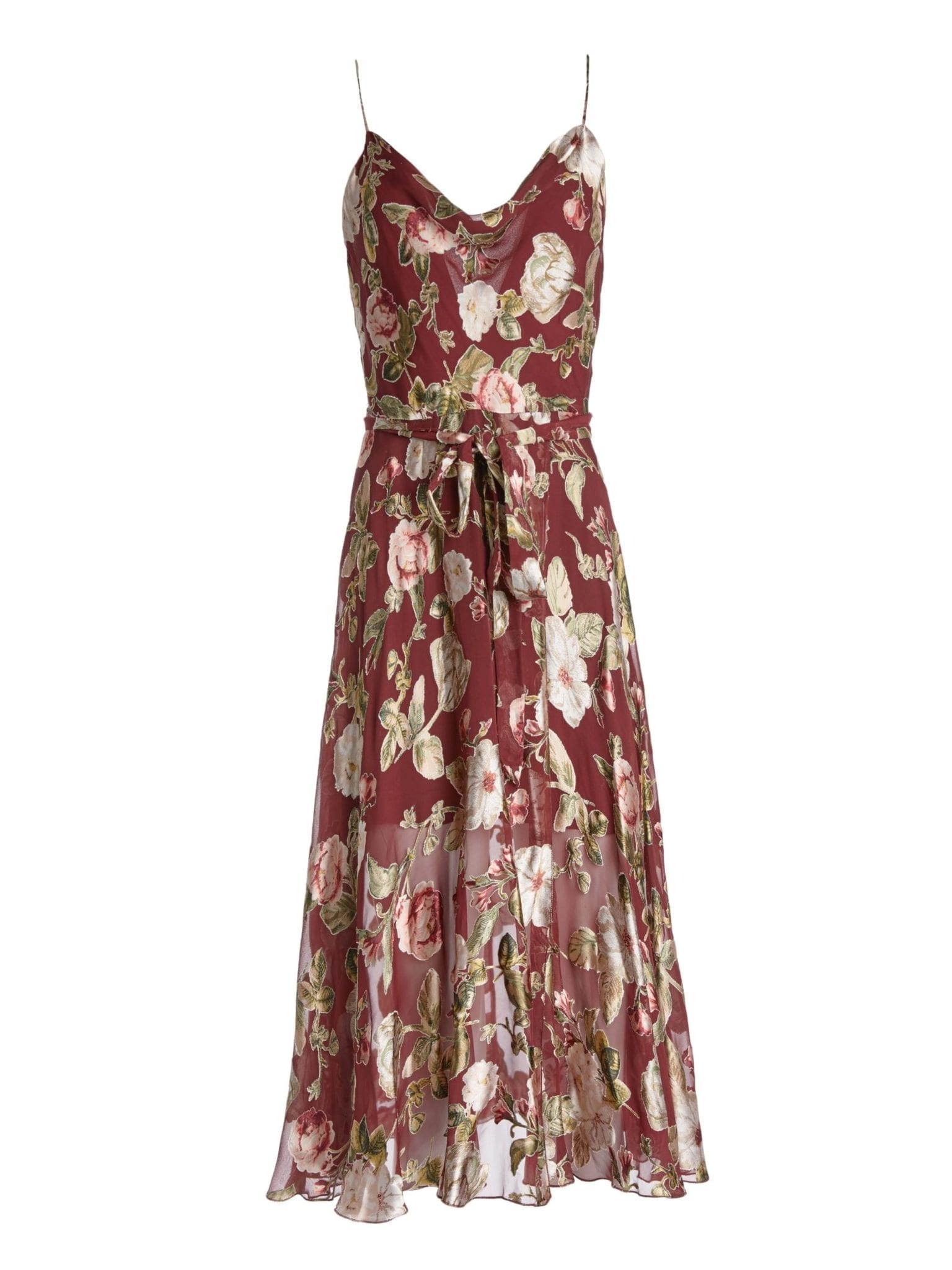 ALICE AND OLIVIA Heather Cowl Neck Midlength Wine Red / Floral ...