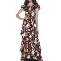 2ce50c855f86 ALICE AND OLIVIA Jenny Flutter Sleeve Maxi Wine Red / Floral Printed Dress