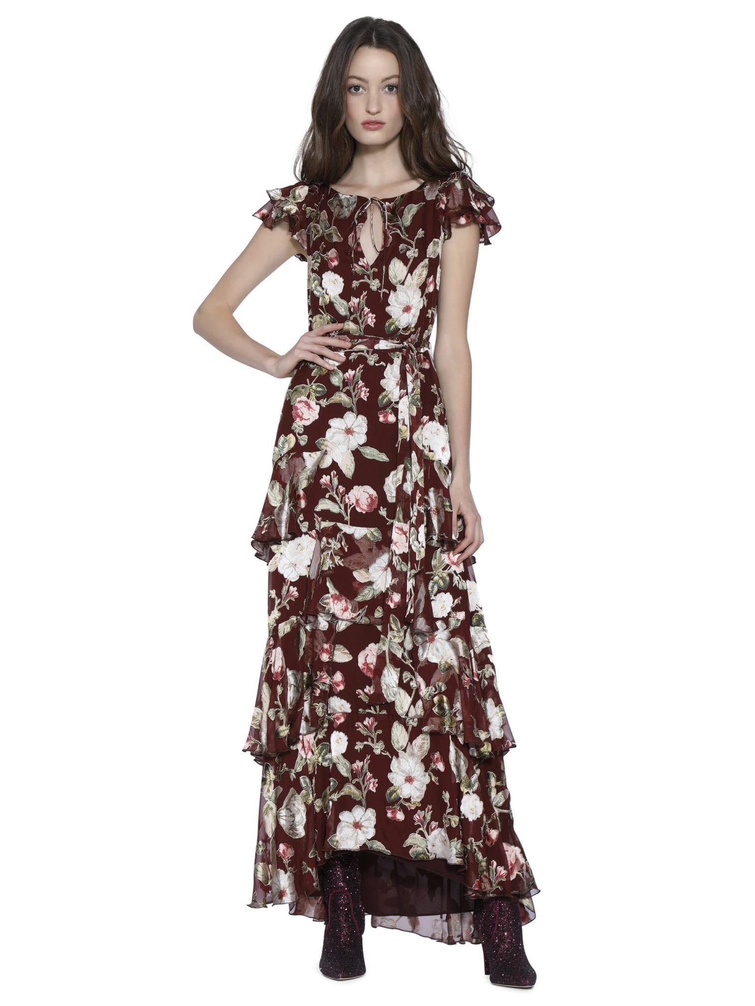 ALICE AND OLIVIA Jenny Flutter Sleeve Maxi Wine Red / Floral Printed Dress