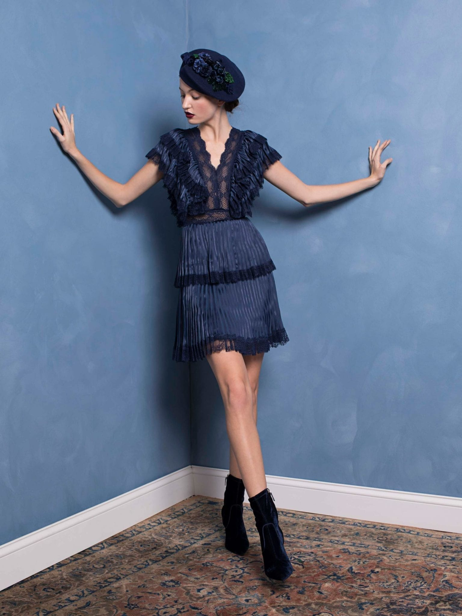 ALICE AND OLIVIA Lanora Pleated Tiered Blue Dress