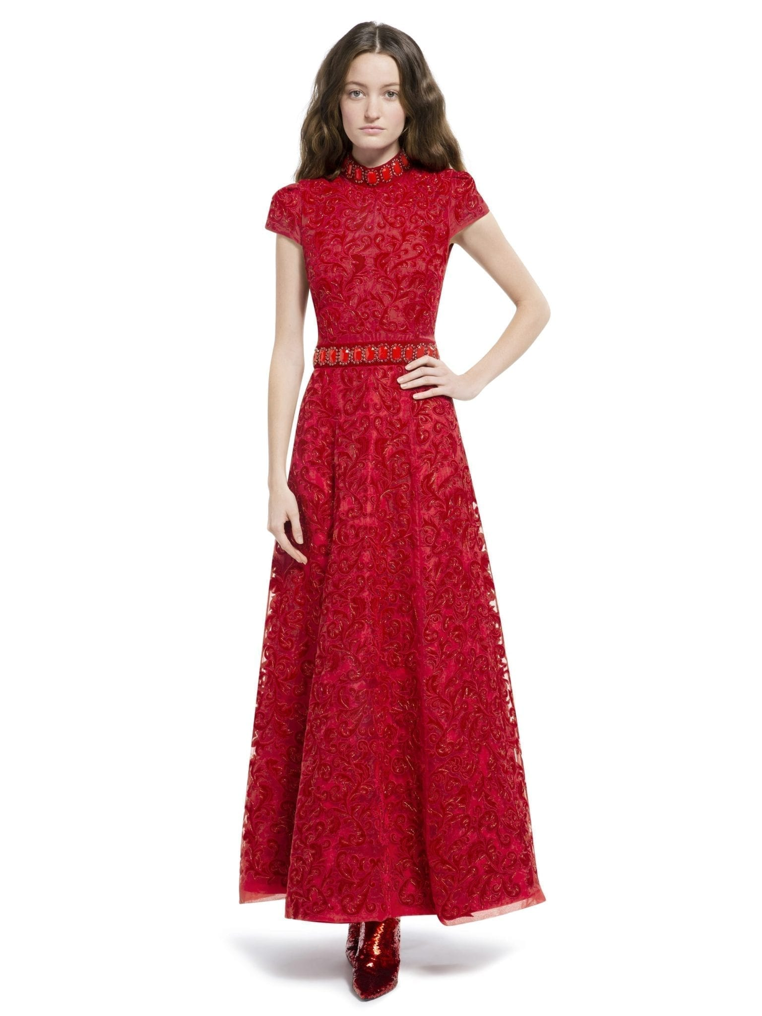 ALICE AND OLIVIA Nidia Embellished Mock Neck Ruby Bordeaux Gown