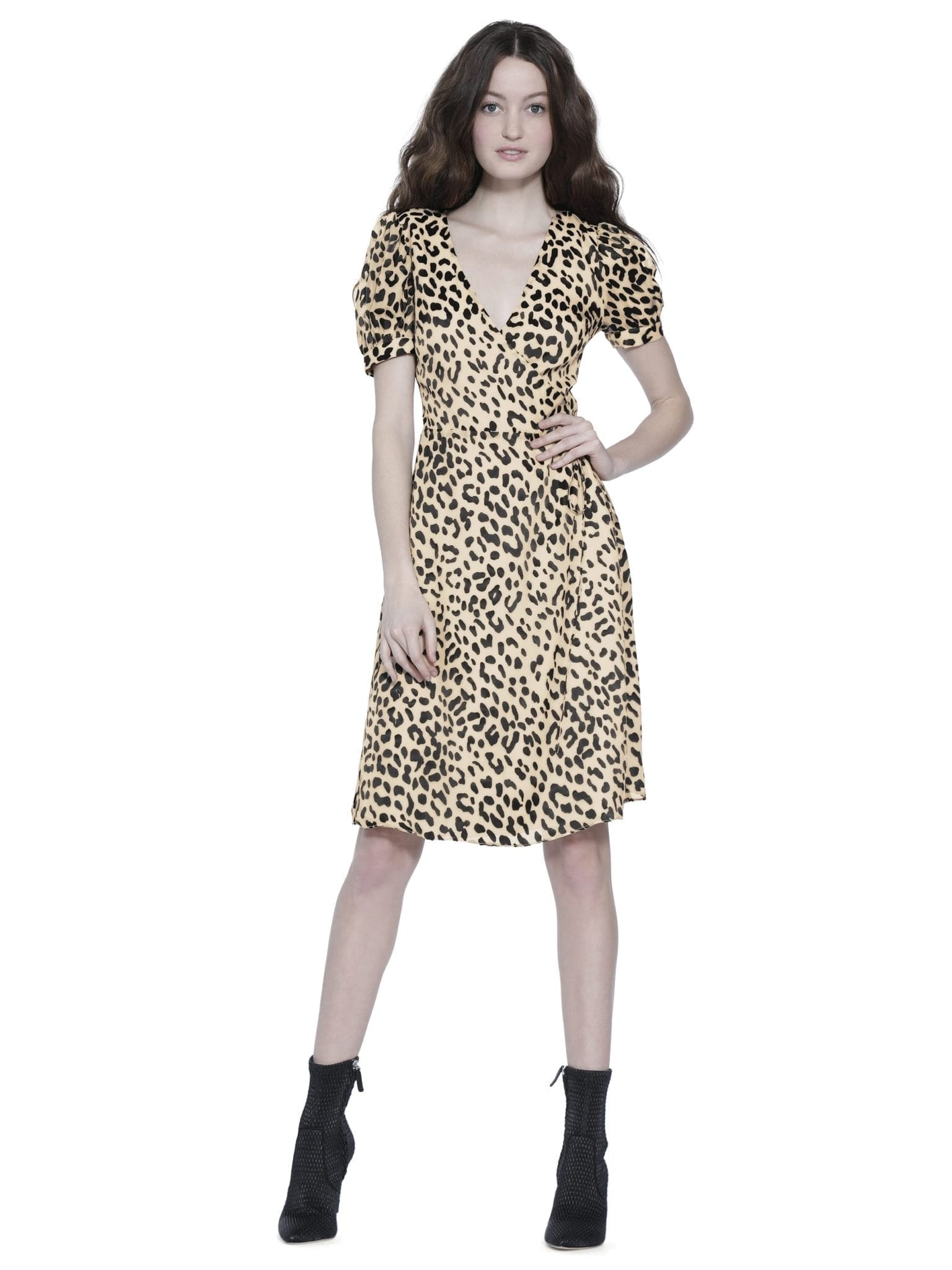 ALICE AND OLIVIA Rosette Puff Sleeve Wrap Leopard Printed Dress