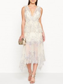 ALICE MCCALL Clementine Lace Sleeveless Midi Cream Dress