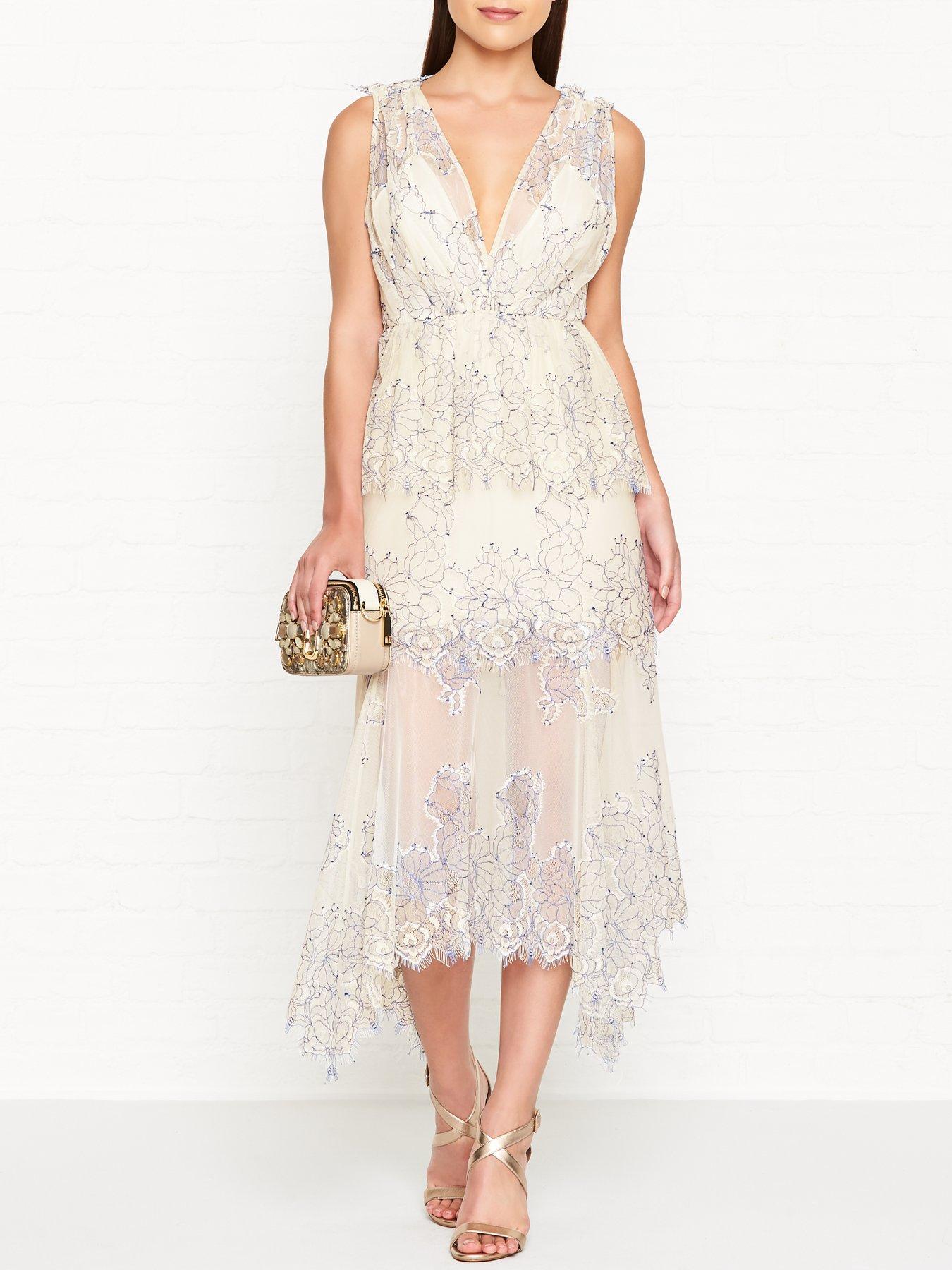 ALICE MCCALL Clementine Lace Sleeveless Midi Cream Dress