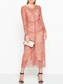 ALICE MCCALL Here It Comes Lace Long Sleeve Rose Dress
