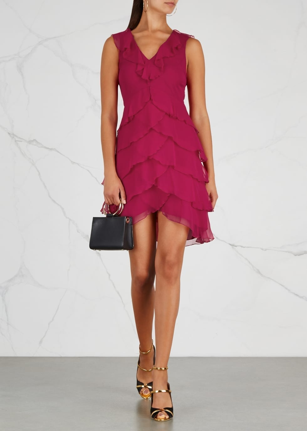 ALICE + OLIVIA Felicita Ruffled Silk Chiffon Midi Fuchsia Dress