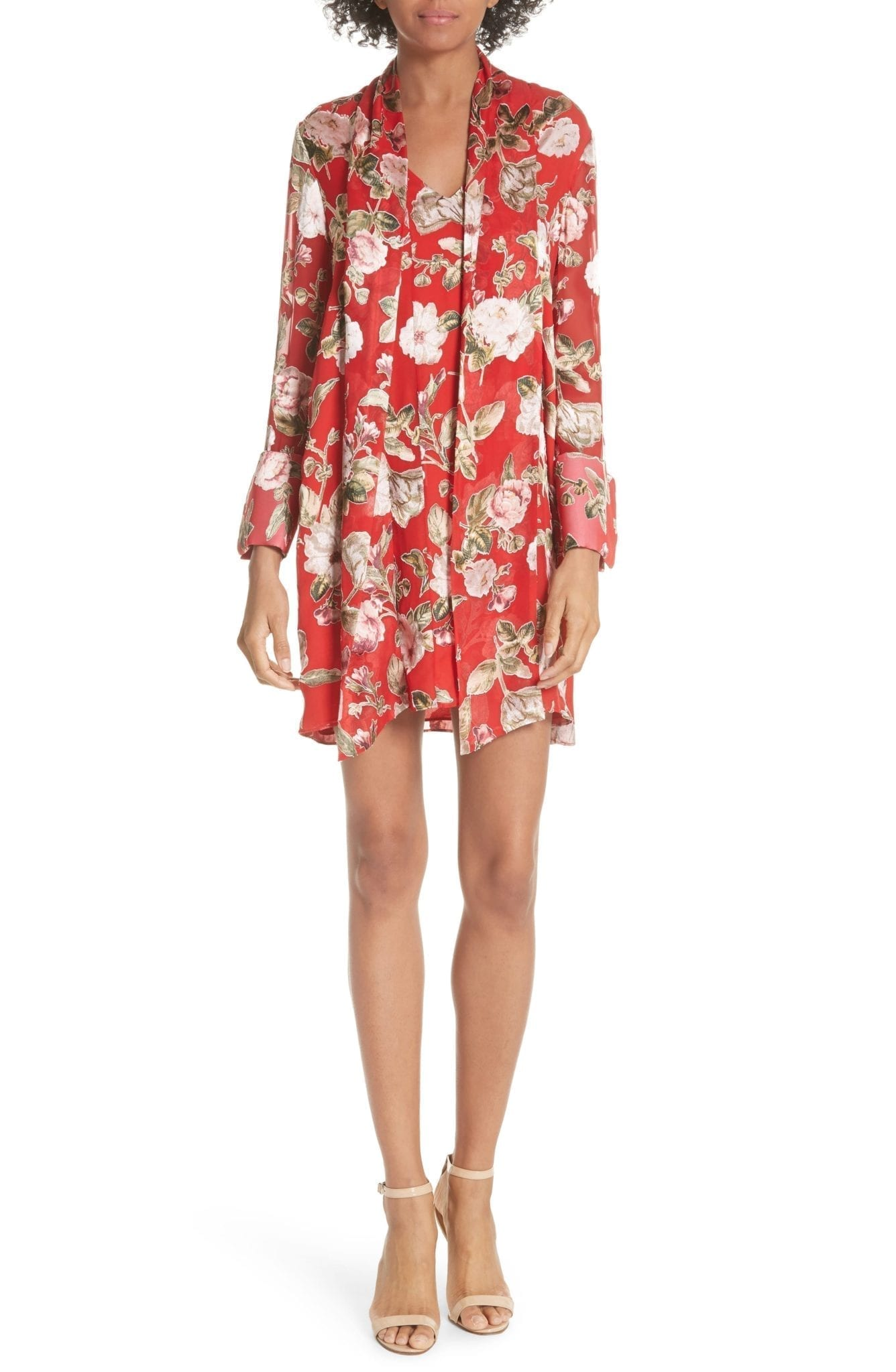 ALICE + OLIVIA Gwenda Paneled Tunic Poppy / Floral Printed Dress