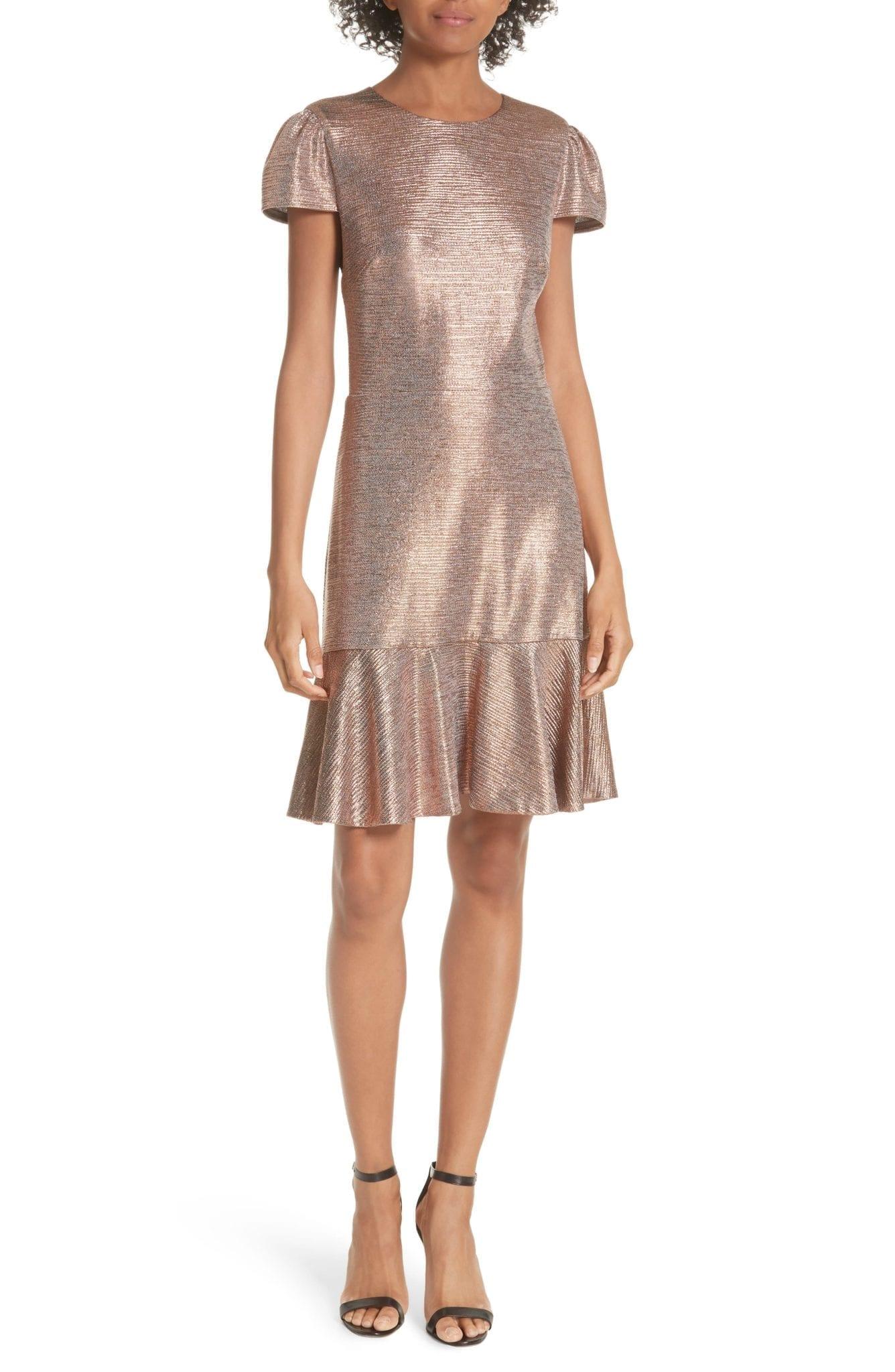 ALICE + OLIVIA Imani Ruffle Hem Metallic Textured Gold Dress