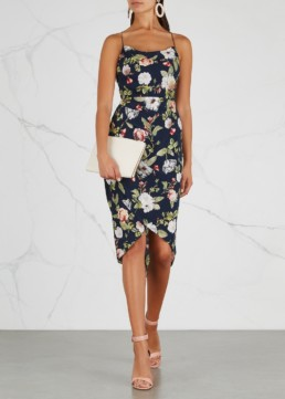 ALICE + OLIVIA Reena Satin Midi Navy / Floral Printed Dress