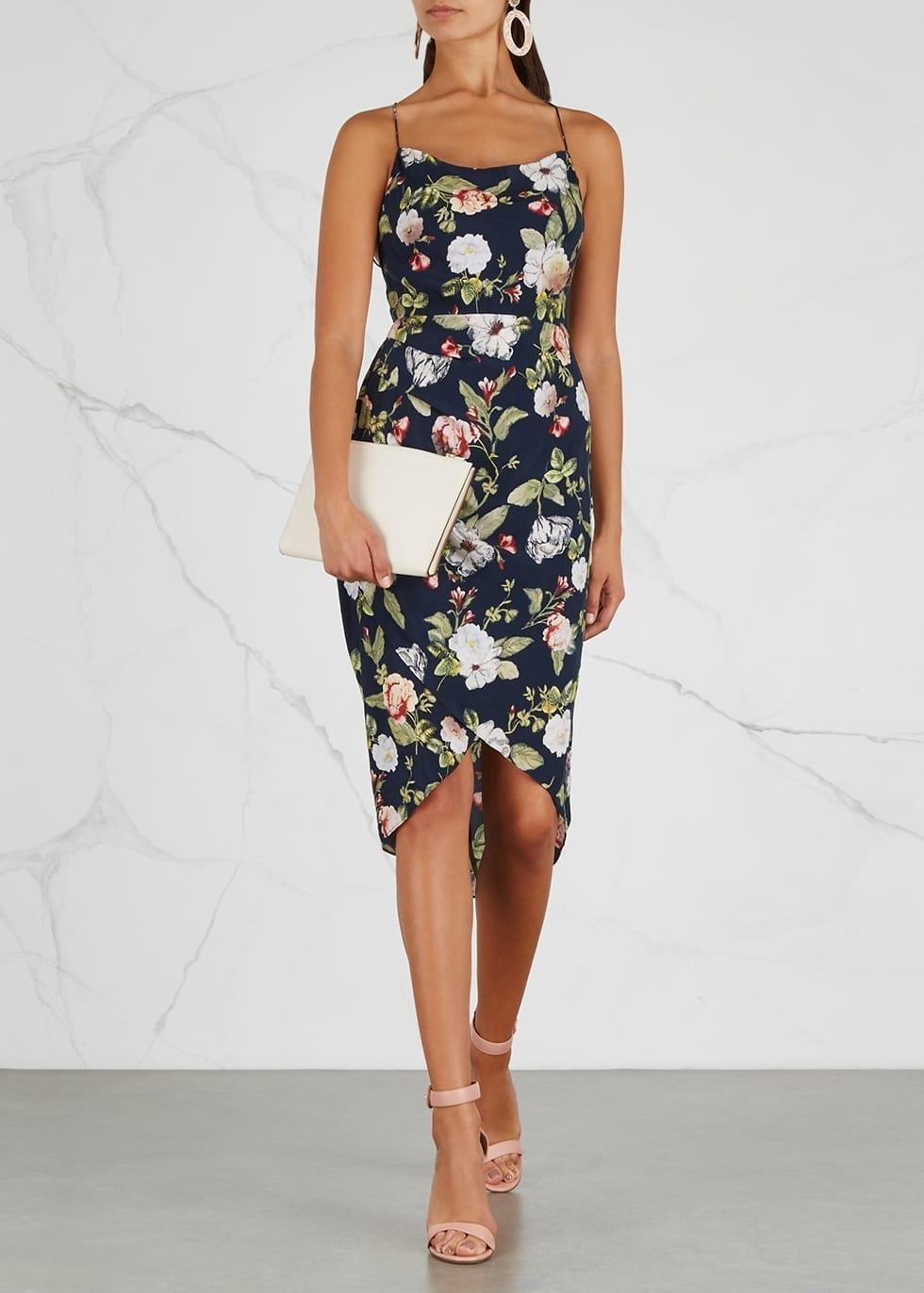 79c9fd85f9aa3 ALICE + OLIVIA Reena Satin Midi Navy / Floral Printed Dress - We ...