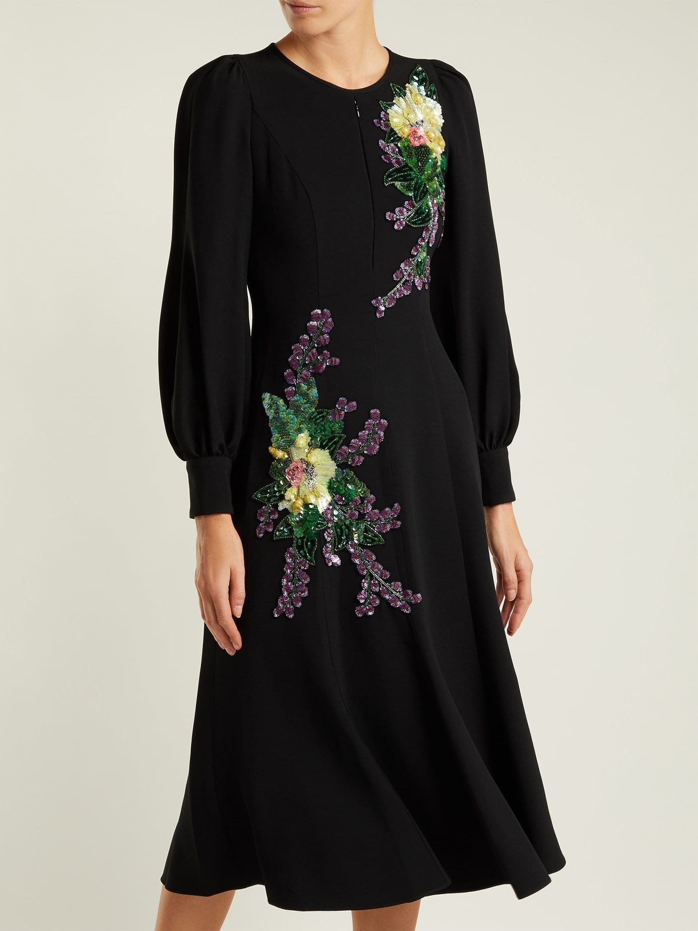 ANDREW GN Crystal And Sequin Embellished Crepe Black Dress