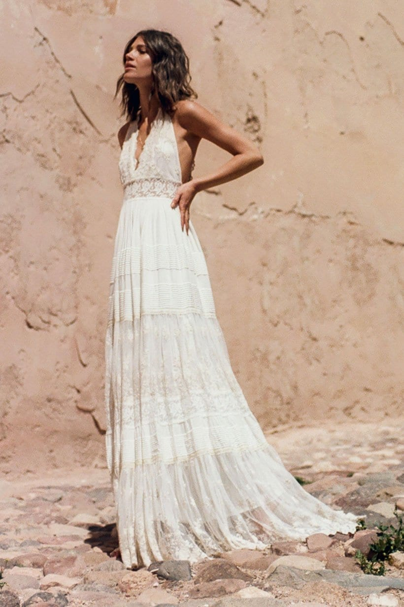 ANGELICA Halter Off White Gown