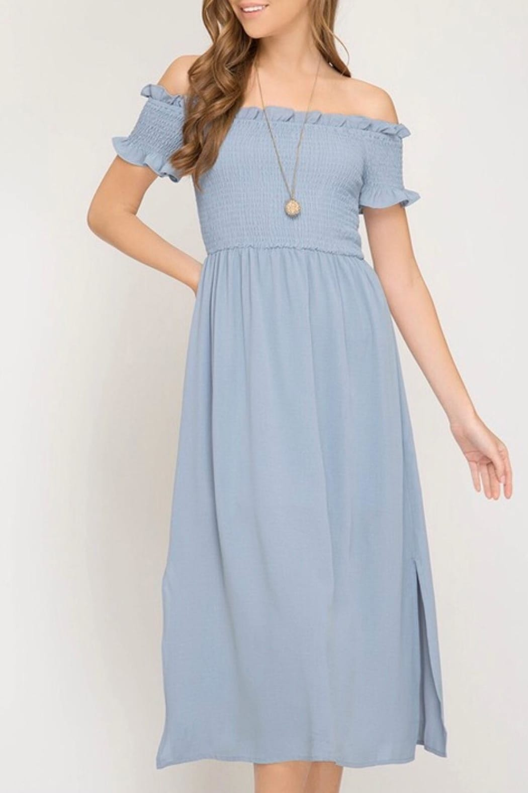 APRICOT LANE Woven Midi Blue Dress