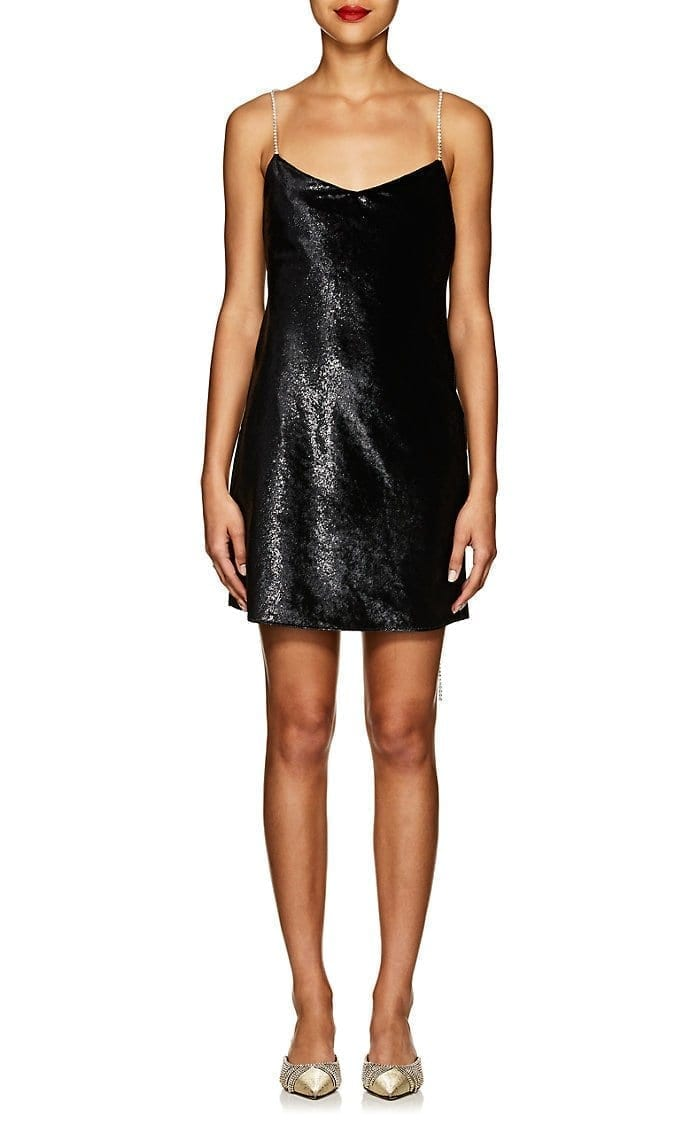 AREA Evelyn Crystal-Strap Velvet Slip Black Dress