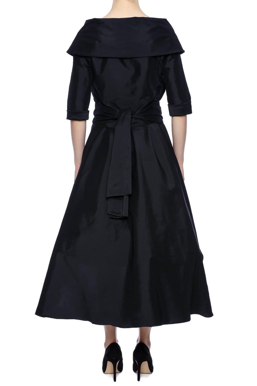 ATELIER Taffeta Portrait Collar Black Dress
