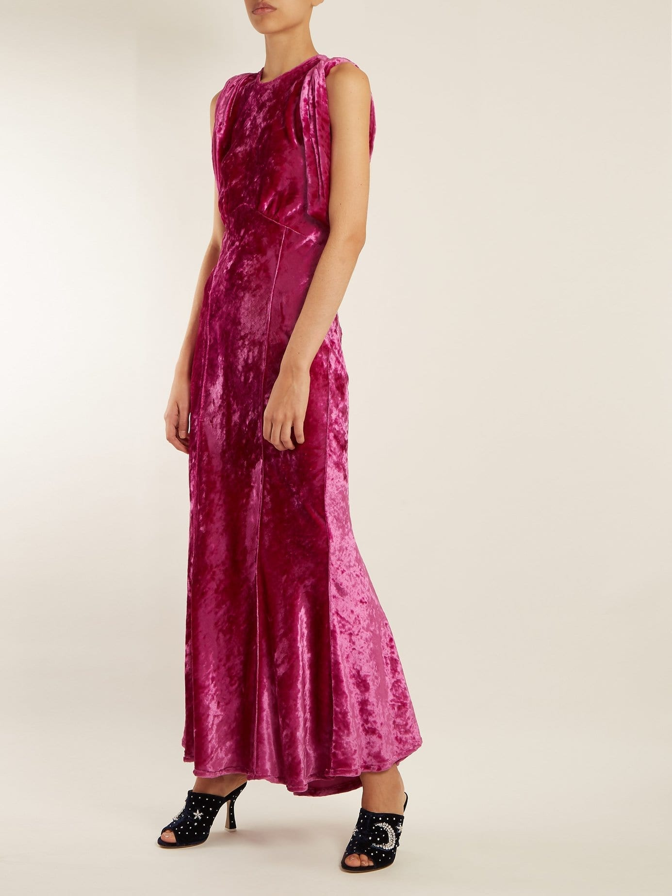 ATTICO Draped Short-sleeved Ruched Velvet Hot Pink Dress