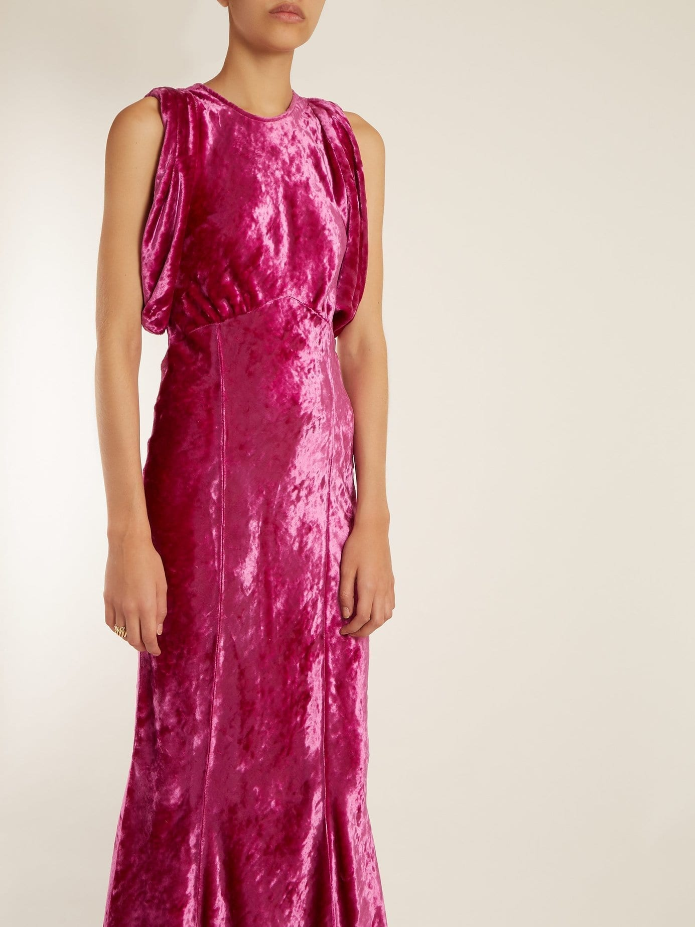 Attico Draped Short Sleeved Ruched Velvet Hot Pink Dress