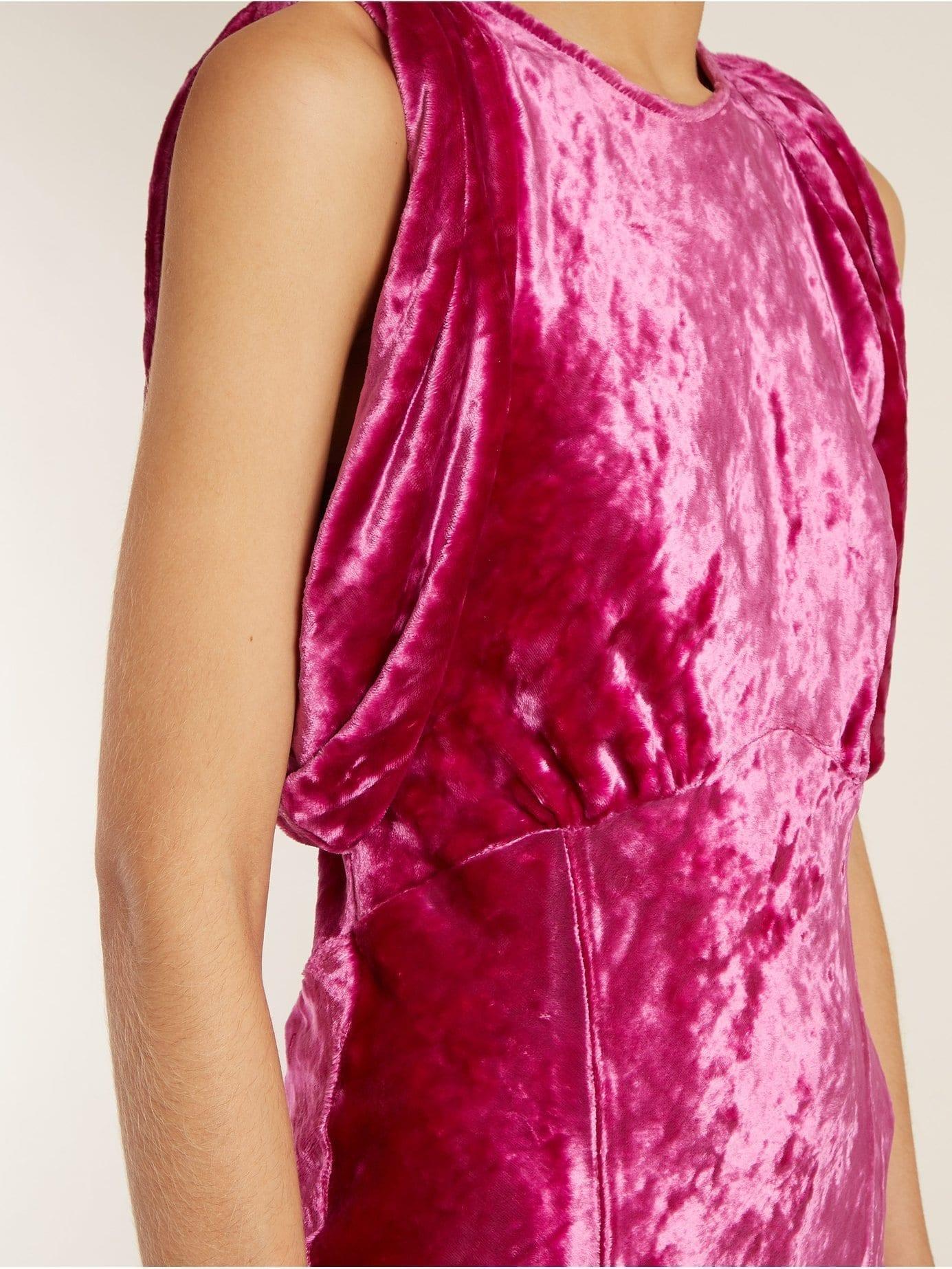 ATTICO Draped Short-sleeved Ruched Velvet Hot Pink Dress