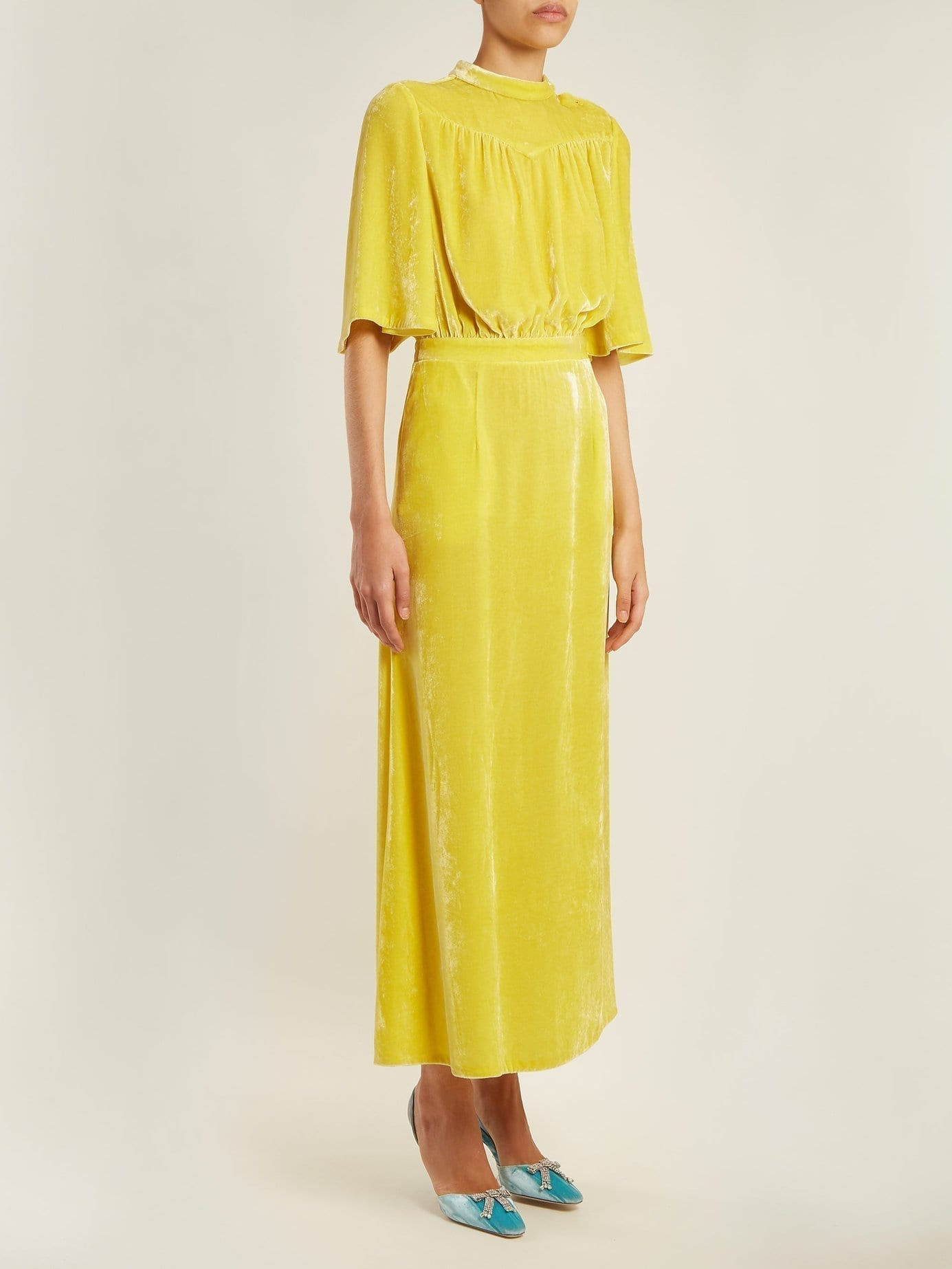 ATTICO Gathered Velvet Midi Yellow Dress
