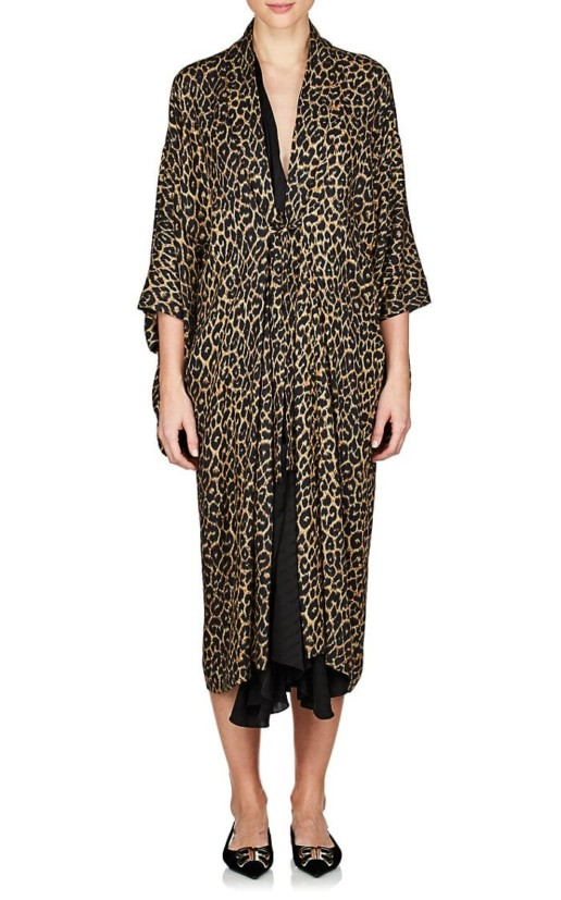 BALENCIAGA Leopard Print Layered Midi Black / Brown Dress