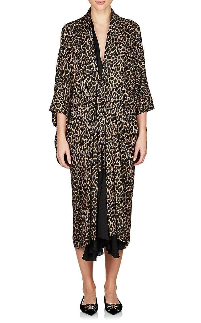 BALENCIAGA Leopard Print Layered Midi Black / Brown Dress