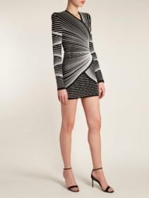 BALMAIN Striped Knit Wrap Style Mini Black Dress