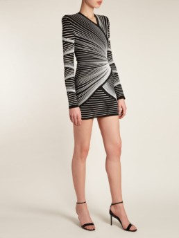 BALMAIN Striped Knit Wrap Style Mini Black Dress
