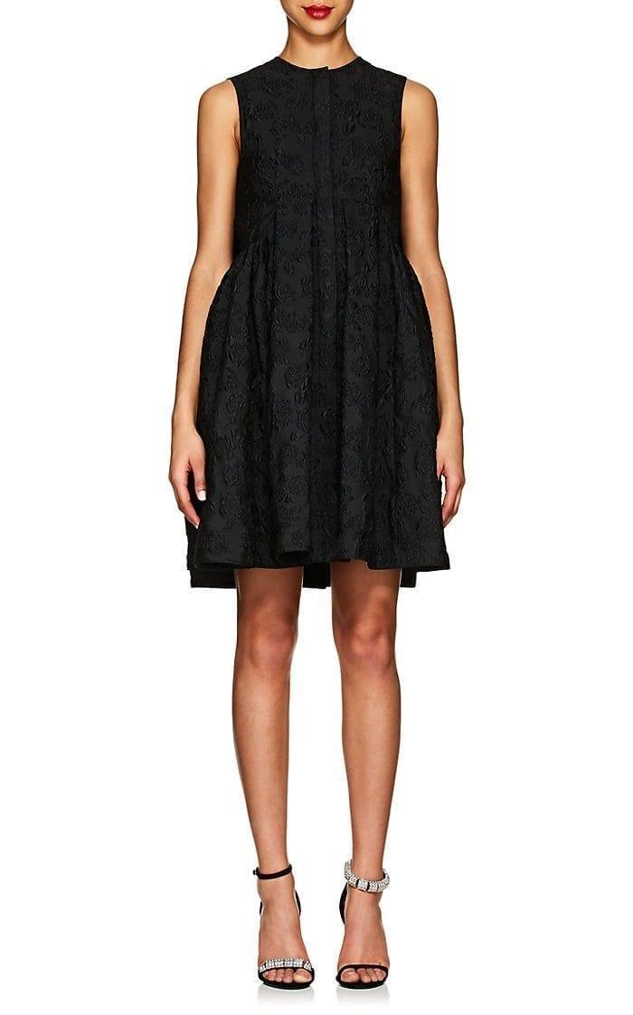 CALVIN KLEIN 205W39NYC Floral Matelassé Smock Black Dress