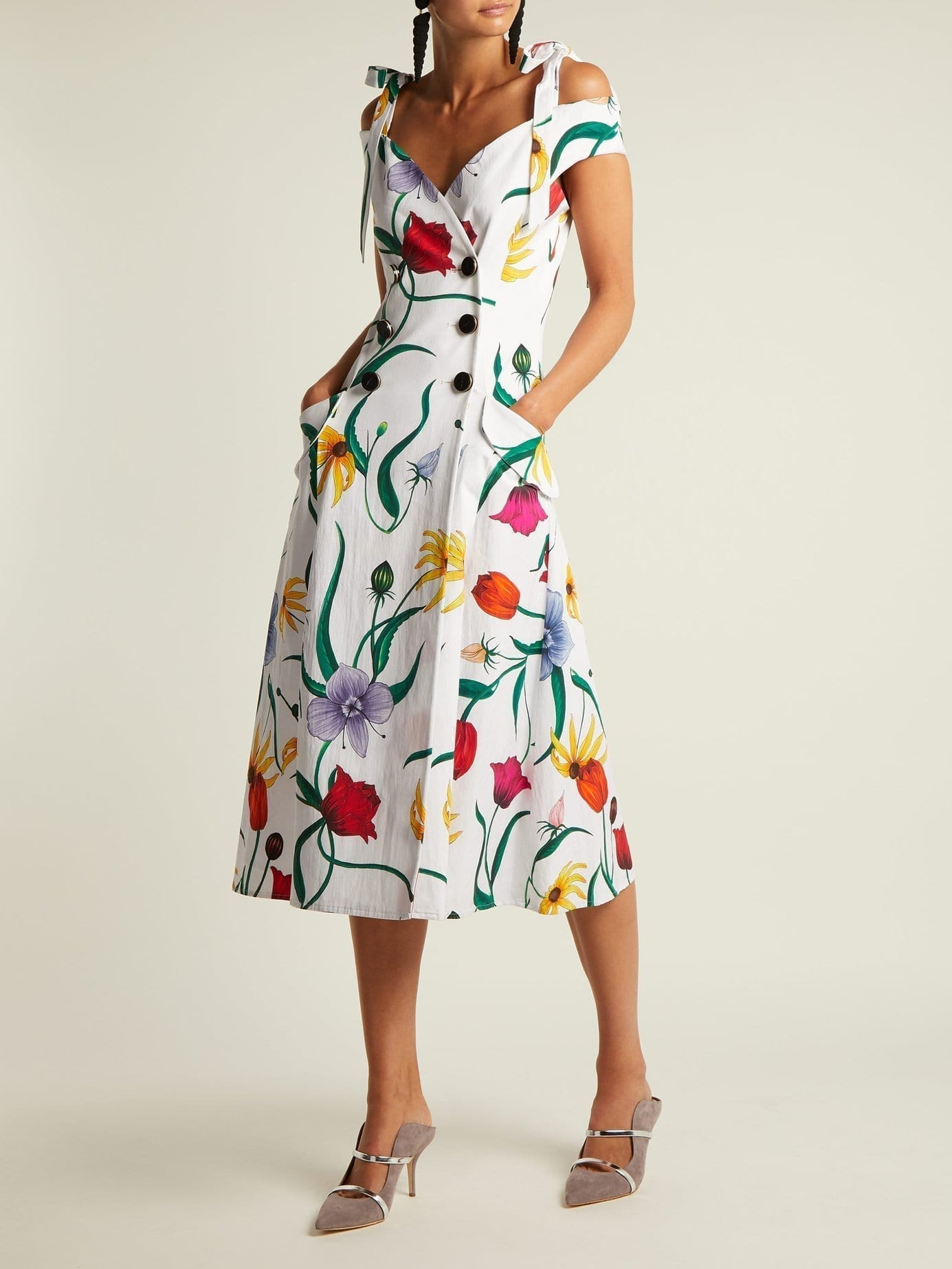 CAROLINA HERRERA Cotton Blend Faille White / Floral Printed Dress
