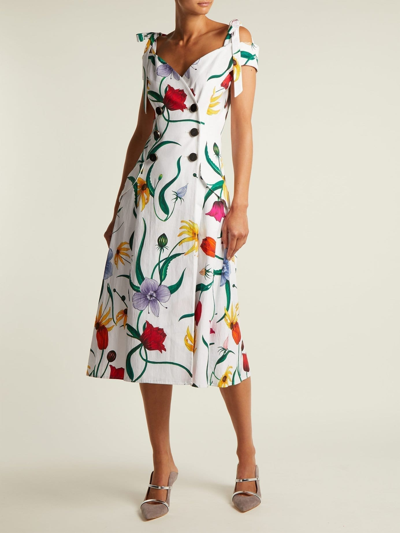 Carolina Herrera Cotton Blend Faille White Fl Printed Dress