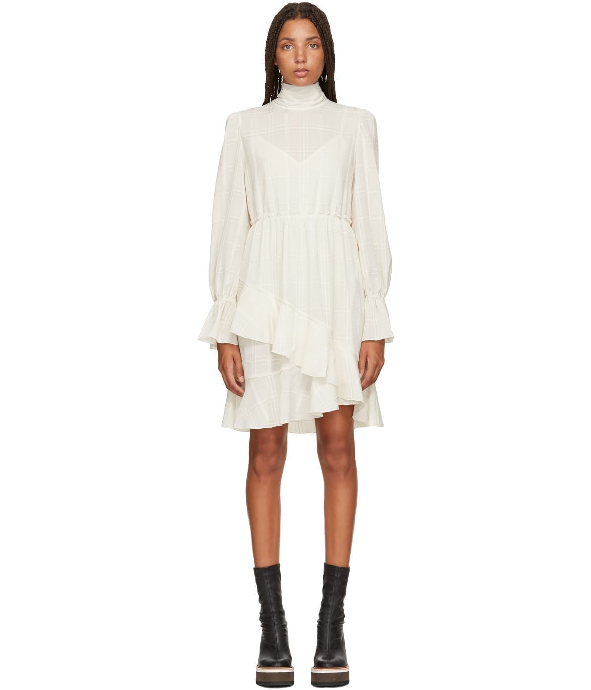 381d1a2131 CHLOÉ Layered High-Neck White Dress - We Select Dresses
