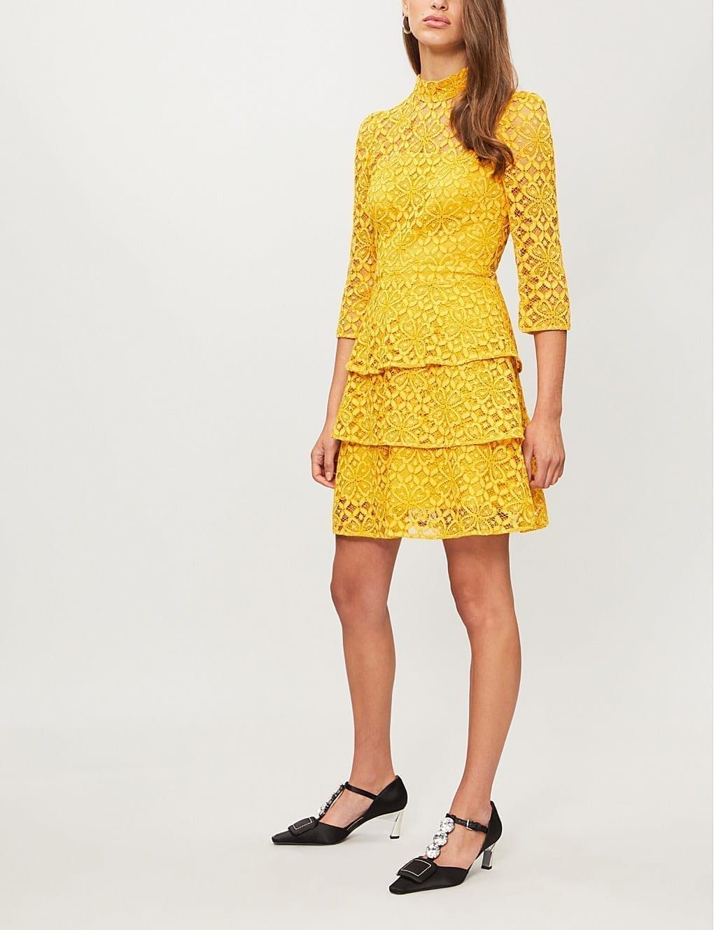 c768ddc8a1d2 CLAUDIE PIERLOT High-neck Floral Lace Yellow Dress - We Select Dresses