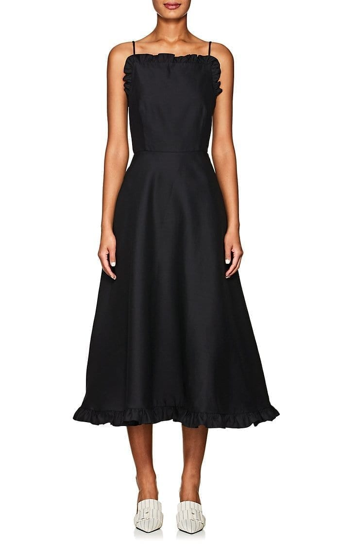 CO Wool Blend Faille Midi Black Dress
