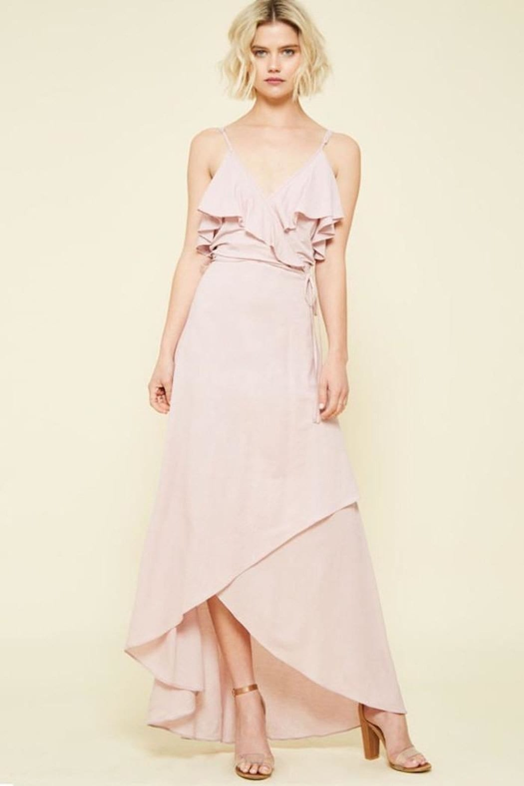 COMPENDIUM BOUTIQUE High-Low Maxi Pink Dress